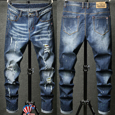 Mens Skinny Stretch Ripped Jeans Slim Fit Flex Denim Trousers Pants Destroy USA
