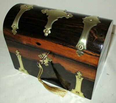 STUNNING VICTORIAN COROMANDEL AND BRASS BOUND DESK TOP STATIONARY BOX with key