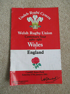 Welsh Rugby Union Wales v England 17th january 1981 programme