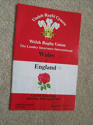 Welsh rugby union Wales v England 20th April 1985 programme