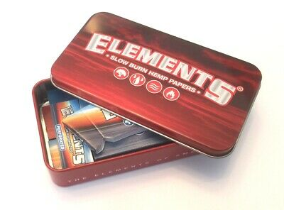 ELEMENTS Metal STARTER TIN King Size Rolling Slow Burning Papers Cone Tips