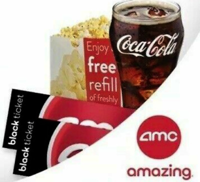 2 AMC Theatre Black Movie Tickets, 1 Large Popcorn & 2 Large Drinks