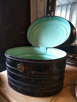 Antique Victorian Large Metal Oval Hat Box, Handle & Brass Clasp