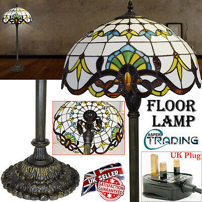 "TIFFANY Antique Style Stained Glass Floor Lamp Bedroom Living Room 16""Inch Shade"