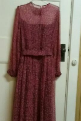 LATE 1960S FLORAL FLOOR LENGTH GOWN.size 12-14.
