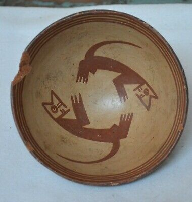 Pre-Columbian Narino Red on White Ceramic Bowl w Zoomorphic Motifs