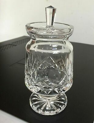 Waterford Crystal Lismore Footed Jam Jelly Condiment Honey Jar Pot w/ Lid