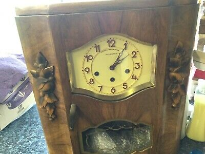 Damy Besancon Antique French Wall Clock with Westminster Chime including key