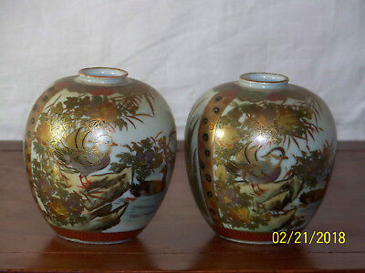 Pair-Kutani Hand Painted Signed Japanese Vases