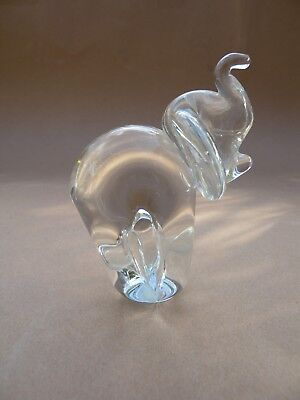 Beautiful Ron Hinkle Glass elephant Sculpture Signed 2000
