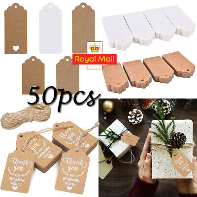 50X Kraft Paper Gift Tags String Crafts Price Tag Christmas Tree Hanging Decor