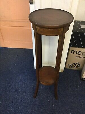 Inlaid Torchere Edwardian Antique Jardiniere Plant Stand Tall Table