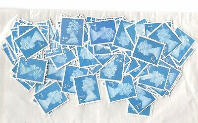 GB 100 x 2nd Class Mixed Type Unfranked Stamps Off Paper No Gum 4 Sorting .