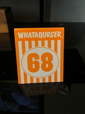 Individual WHATABURGER Restaurant Table Tent Number  68- Modern Glossy