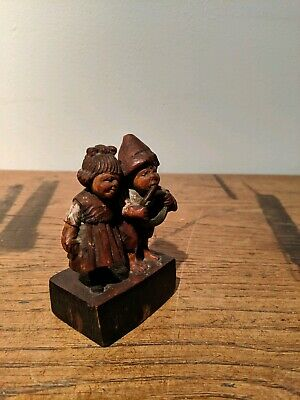 Carved Wooden Figure Hansel Gretel Black Forest Folk Art Erzgebirgische vintage