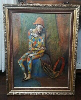 OLD Pablo Picasso Harlequin Oil Painting on Canvas signature Rare