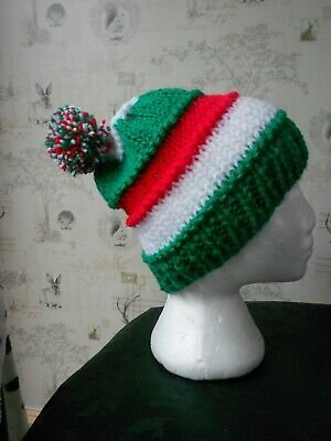 green white, red bobble Hat Leicester tigers and wales football rugby colours