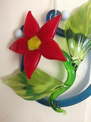 Poinsettia - Flame-worked Glass Flower Suncatcher or Small Paperweight/Ornament