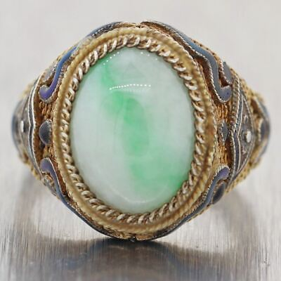 1930's Antique Art Deco Chinese Silver Adjustable Gold Plated Enamel Jade Ring