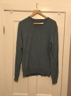 Mens Duck Egg Blue 100% Cashmere Pullover Jumper Sweater Small
