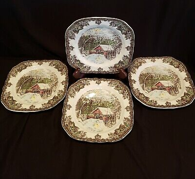 Johnson Brothers The Friendly Village 4 Square Plates England