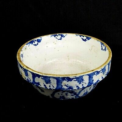 X Radium Mineral Clay Bowl Blue Star Pottery Early 1900's Vintage Rare Antique