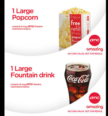 AMC Theatres vouchers 1 Large Drink & 1 Large Popcorn exp 6/2020