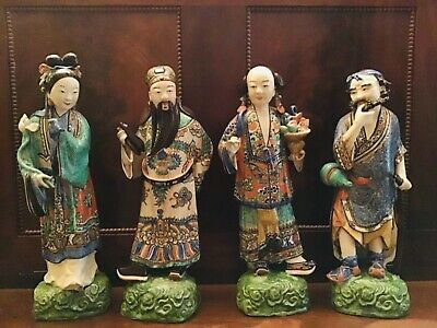 Set 4 19th c Chinese polychrome pottery figures immortals antiques Qing dynasty