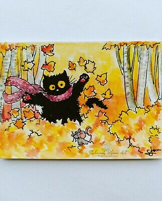ACEO cat #326 ORIGINAL painting black cat fall Halloween autumn leaves play