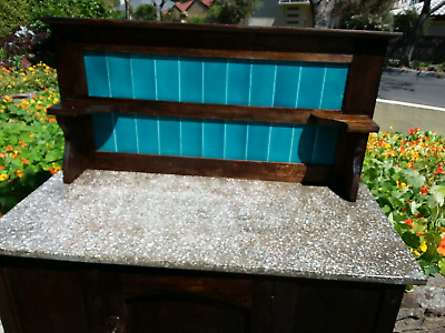 CHEAP buy!!!   C1920's  TIMBER CABINET WASH STAND BLUE TILED BACKING BOARD