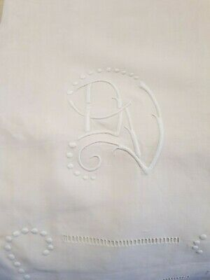 French antique sheet unused pure linen large hand embroidered beautiful