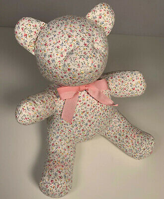 """Ralph Lauren Bear Floral Cotton Bear Teddy Plush Soft Toy Baby Bow 11"""" Inches"""