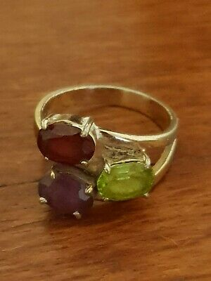Vintage Sterling Silver 18K Gold Plated Ring Ruby Peridot Amethyst