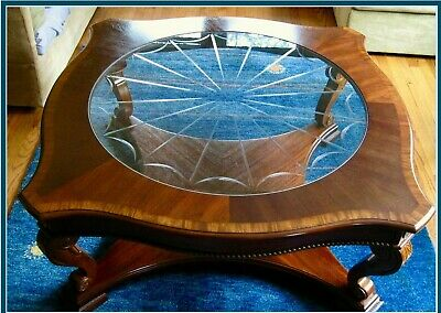 2-Shelf Vtg Mixed Wood Cocktail Table~Etched Glass, Cathedral & Flame Mahogany