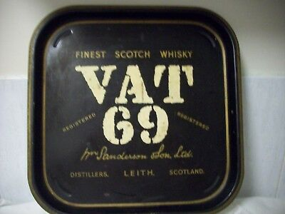 *Collectable - Vat 69 Scotch Whisky - Metal Tray Made In England -Vintage Used
