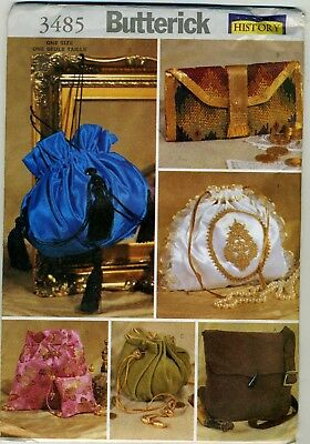 Butterick Sewing Pattern 3485 Lined Historical Handbags Purse Pouch UNCUT