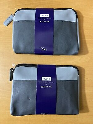 Two (2) New Delta Airline One Soft Tumi Amenity Kit Gray 2019 - New and Sealed