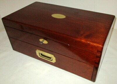 HANDSOME LARGER SIZE VICTORIAN SOLID MAHOGANY & BRASS BOX front drawer,key