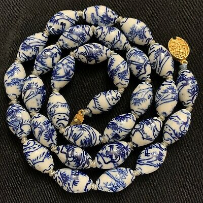 Vtg Chinese Painted Porcelain Crane Oval Bead Blue White Necklace Knotted Silk