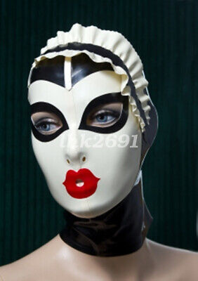 100% Latex Gummi Black and white Hood Headgear Cosplay mask lace Size S-XXL