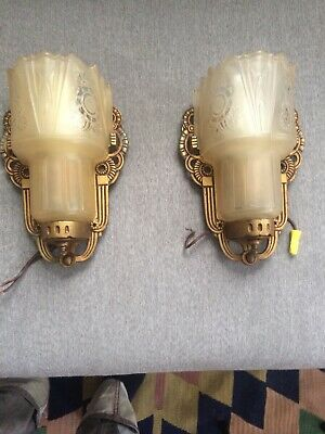 Antique Vintage Pair Ornate Wall Light Lamp Sconces W/ Shades