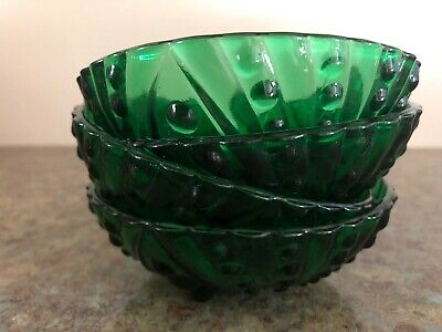 Lot Of 4 Mid Century Green Bubble Glass Footed Dessert Bowls