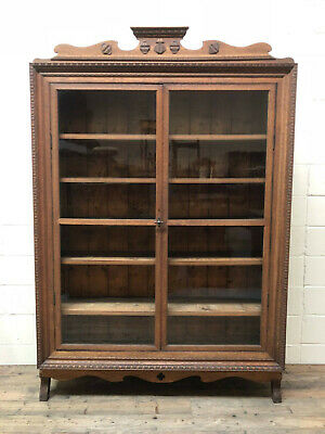 Large Antique Carved Oak Glazed Bookcase - Delivery Available