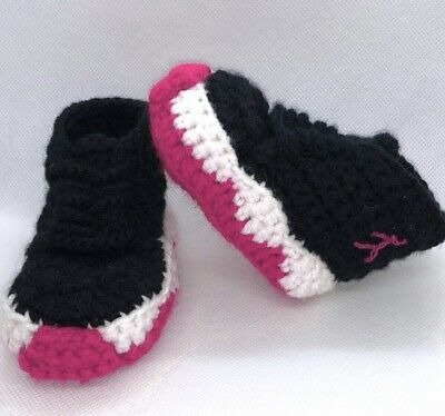 Crochet Baby Sneakers J Basketball Air Girls Newborn Knit Pink PreWalker shoes