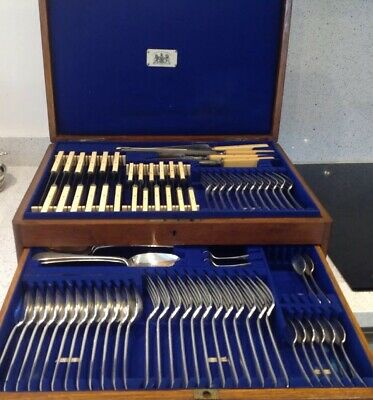 Antique Silver Plated Canteen Cutlery 79 Piece 12 Place Setting Circa 1900