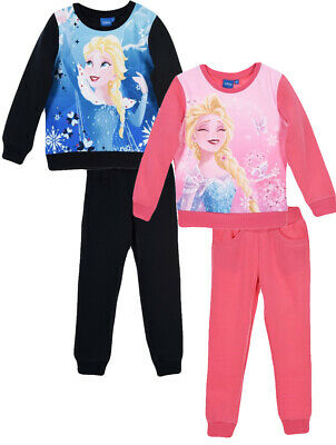 Disney Frozen Girls Kids Anna Elsa Jogging Suit Tracksuit Jumper Trousers