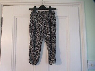 4-5 yrs: Grey floral summer trousers: Viscose: NEXT: Good cond: Combine post
