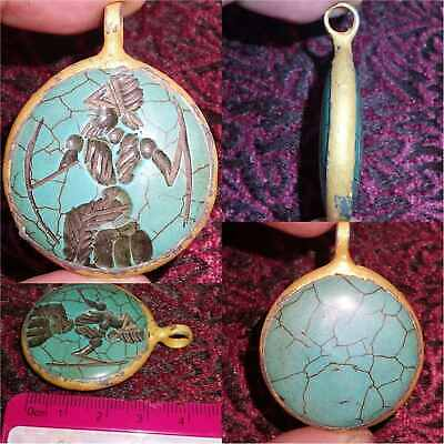 Turquoise stone Old king intaglio stone Lovely Gold plated Pendant  # 32
