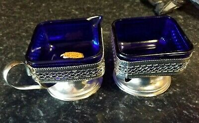 PAIR of VINTAGE BLUE GLASS  HEART deco SILVER CHROME  SUGAR BOWL /MILK CREAM JUG