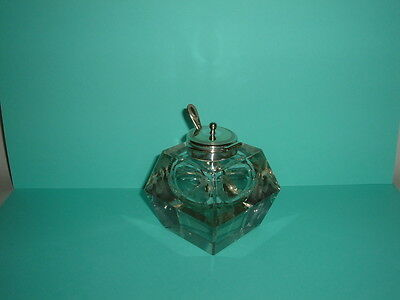 Art Deco Geometric Cut Heavy Etched Glass Mustard Pot With Silver Plated Lid
